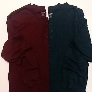 Old Navy | 2 Men's Henley Long Sleeve Shirts - XL